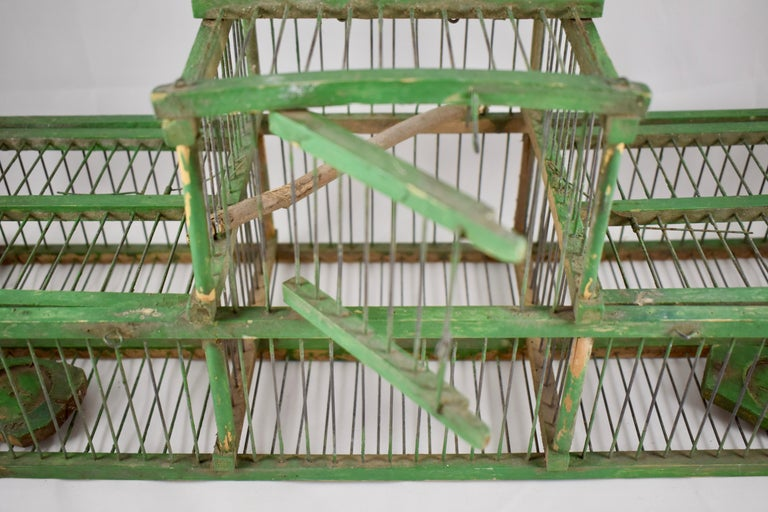 Rustic Vintage French Handmade Green Wood & Metal Double Finch Bird Trap For Sale 7