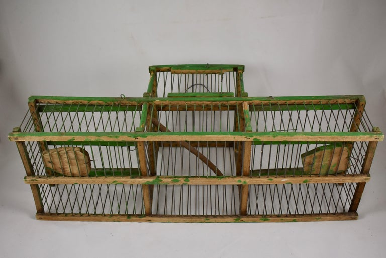 Rustic Vintage French Handmade Green Wood & Metal Double Finch Bird Trap For Sale 8
