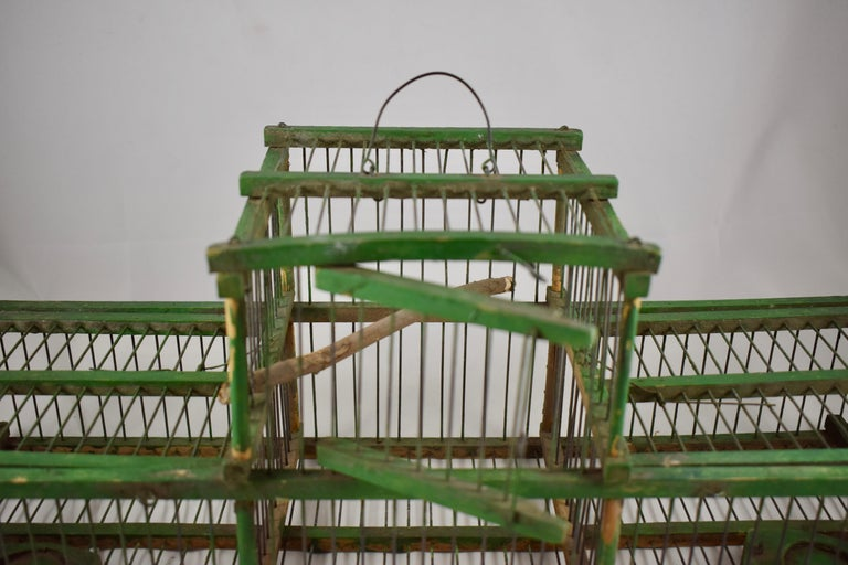 French Provincial Rustic Vintage French Handmade Green Wood & Metal Double Finch Bird Trap For Sale