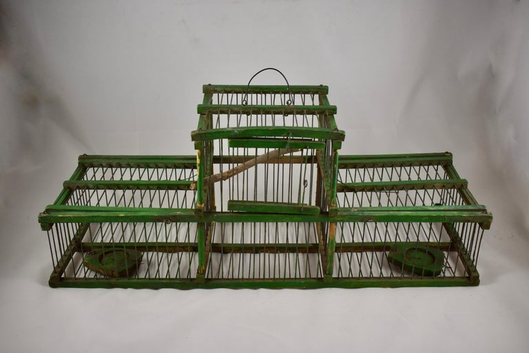 Metalwork Rustic Vintage French Handmade Green Wood & Metal Double Finch Bird Trap For Sale