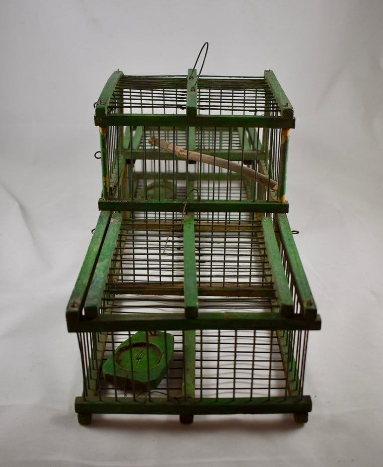 Rustic Vintage French Handmade Green Wood & Metal Double Finch Bird Trap In Good Condition For Sale In Philadelphia, PA