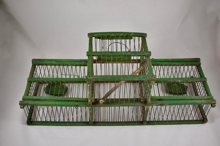 20th Century Rustic Vintage French Handmade Green Wood & Metal Double Finch Bird Trap For Sale