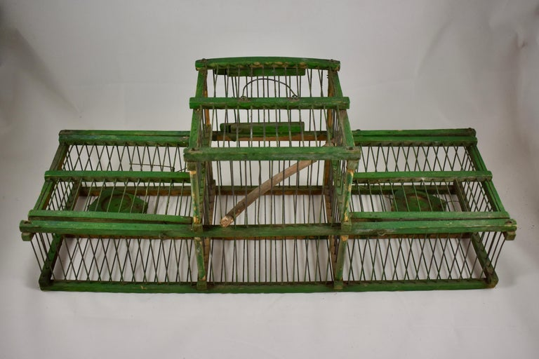 Rustic Vintage French Handmade Green Wood & Metal Double Finch Bird Trap For Sale 1