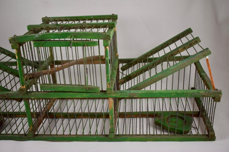 Rustic Vintage French Handmade Green Wood & Metal Double Finch Bird Trap For Sale 3