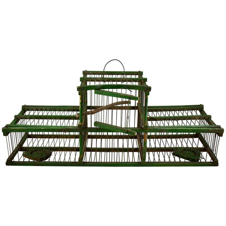 Rustic Vintage French Handmade Green Wood & Metal Double Finch Bird Trap For Sale