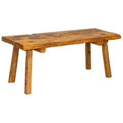 Rustic Vintage Slab Wood Coffee Table, Former Work Table with Square Peg Legs