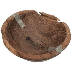Rustic Vintage Teak Hand Hewn Wooden Bowl from Java, Mid-20th Century
