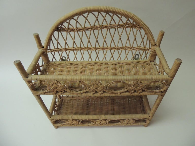 This item is part of our 7Th Anniversary SALE: Rustic vintage woven wicker wall shelf Vintage rustic woven wicker wall shelf in a rectangular shape with two shelves and rounded top.  Finished in all sides and hanging hooks in the back. Philippines,