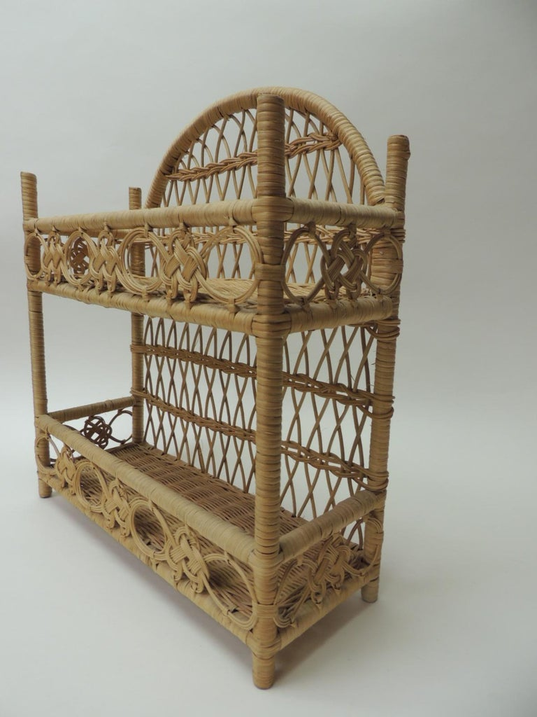 Philippine Rustic Vintage Woven Wicker Wall Shelf For Sale
