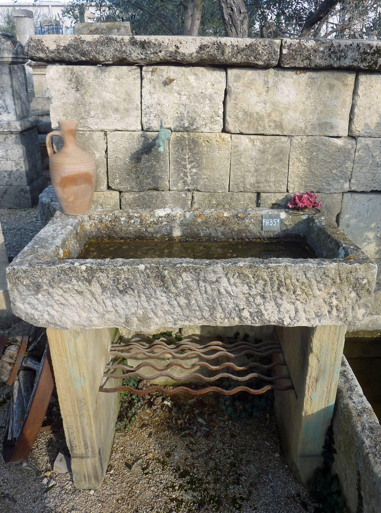 Rustic Wall Fountain With Antique Stone Trough Bonded