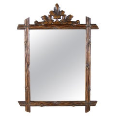Rustic Wall Mirror Black Forest Hand Carved, Austria, circa 1890