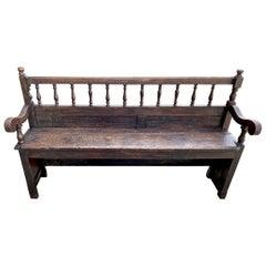 Rustic Walnut Bench, 18th-19th Century