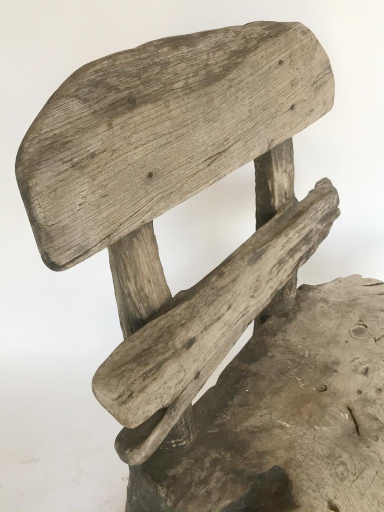 Indonesian Rustic Weathered Teak Chair For Sale