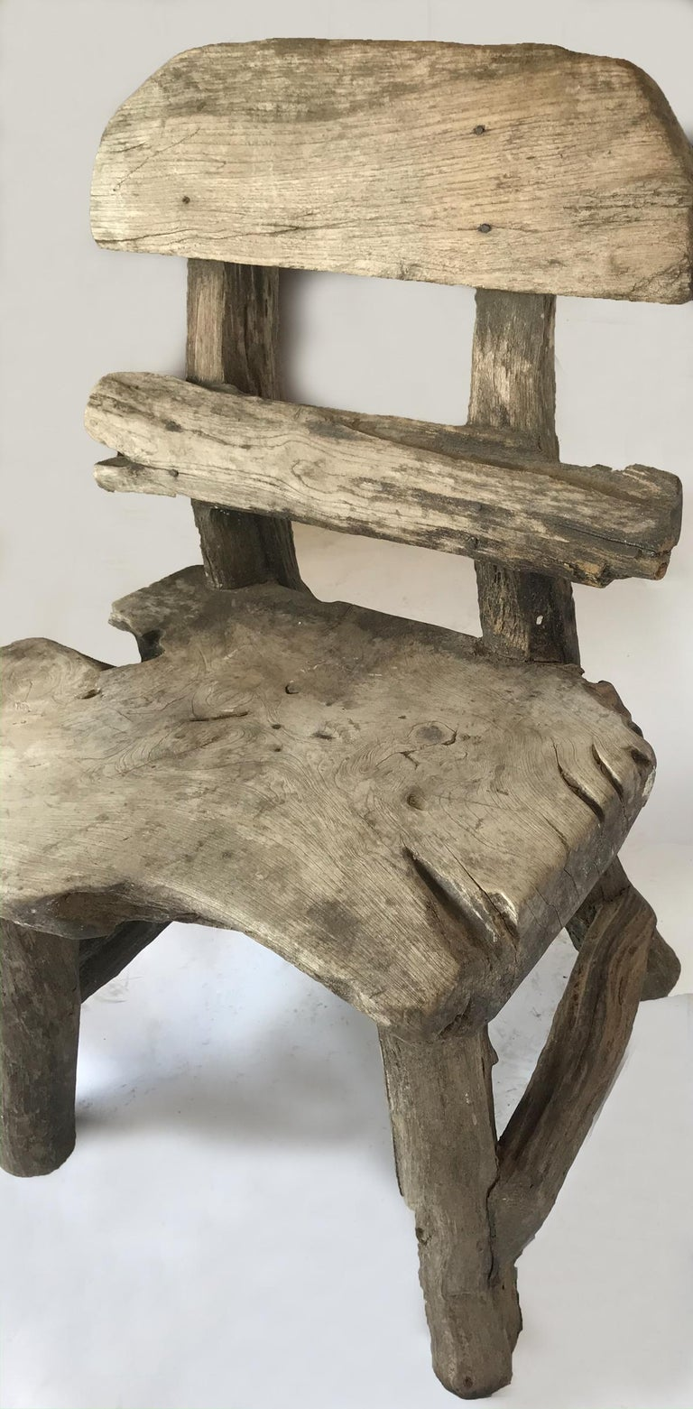 Rustic Weathered Teak Chair In Fair Condition For Sale In Los Angeles, CA