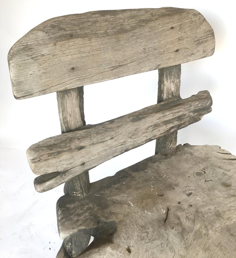 20th Century Rustic Weathered Teak Chair For Sale