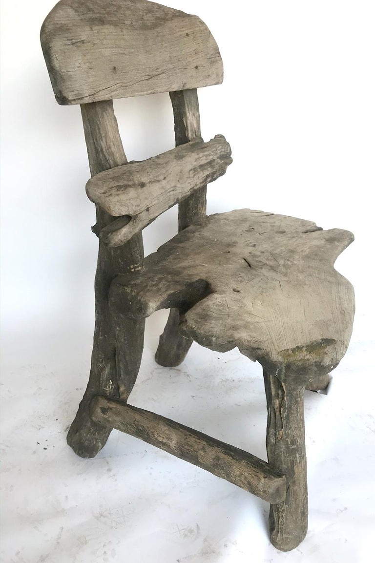 Rustic Weathered Teak Chair For Sale 1