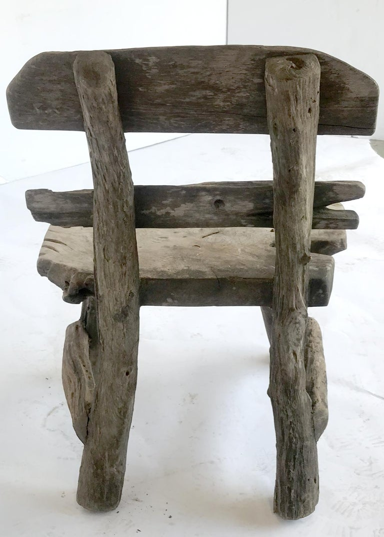 Rustic Weathered Teak Chair For Sale 2
