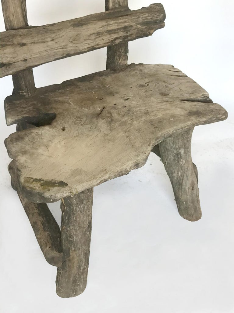 Rustic Weathered Teak Chair For Sale 4