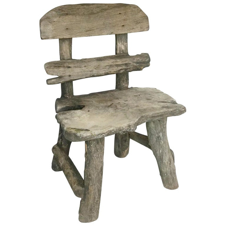 Rustic Weathered Teak Chair For Sale