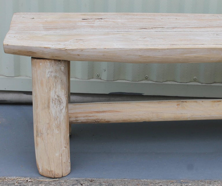 Rustic White Washed / Painted Hickory Bench For Sale At