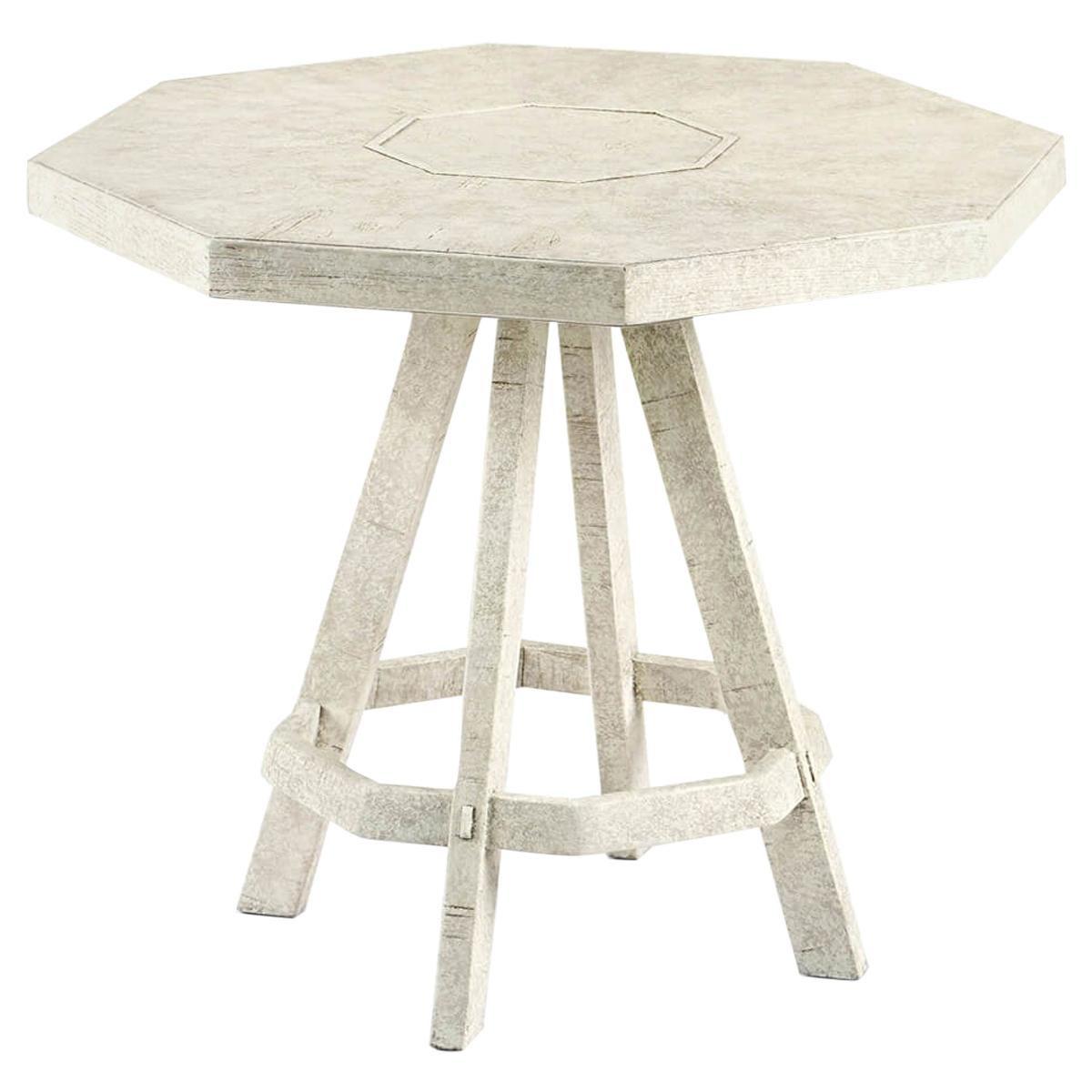 Rustic Whitewash Octagonal Side Table