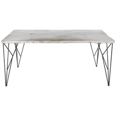 Rustic Whitewashed Console/Work Table with Iron Legs