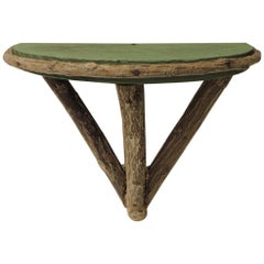 Rustic Willow Painted Green Garden Wall Shelf or Bracket