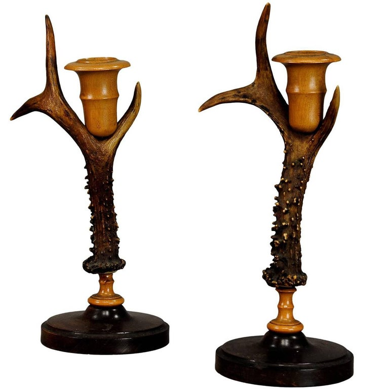 Rustic Wood and Antler Candleholders Pair for Cabin