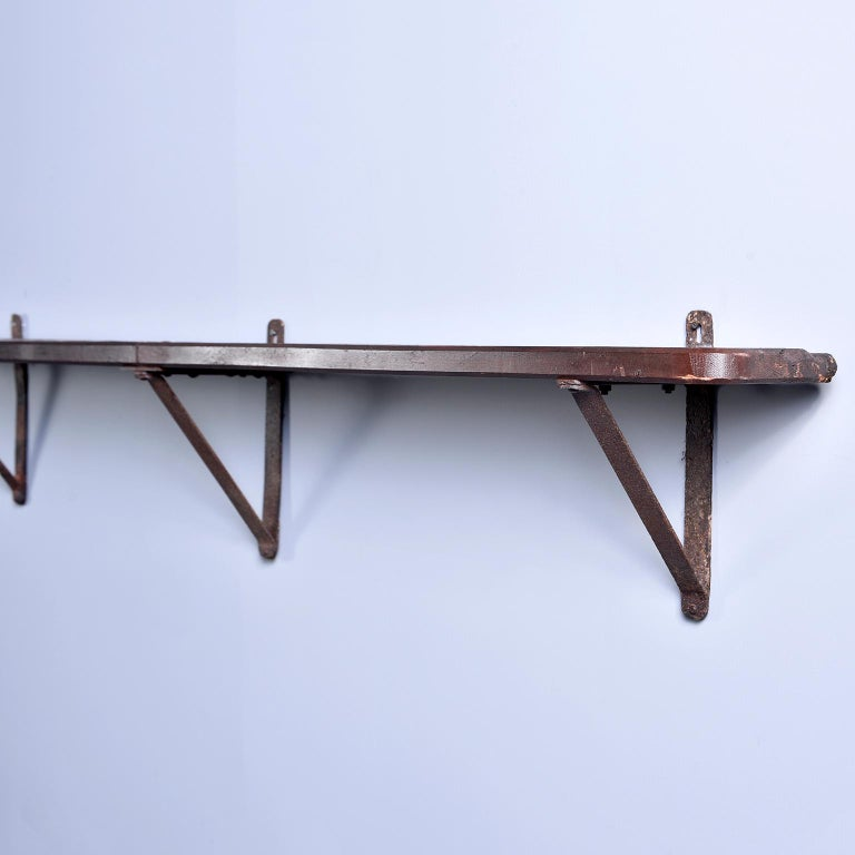 Rustic Wood and Iron French Shelf-Style Wine Rack For Sale 6