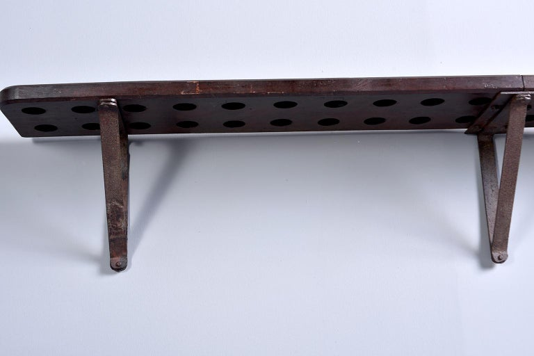 Rustic Wood and Iron French Shelf-Style Wine Rack For Sale 11