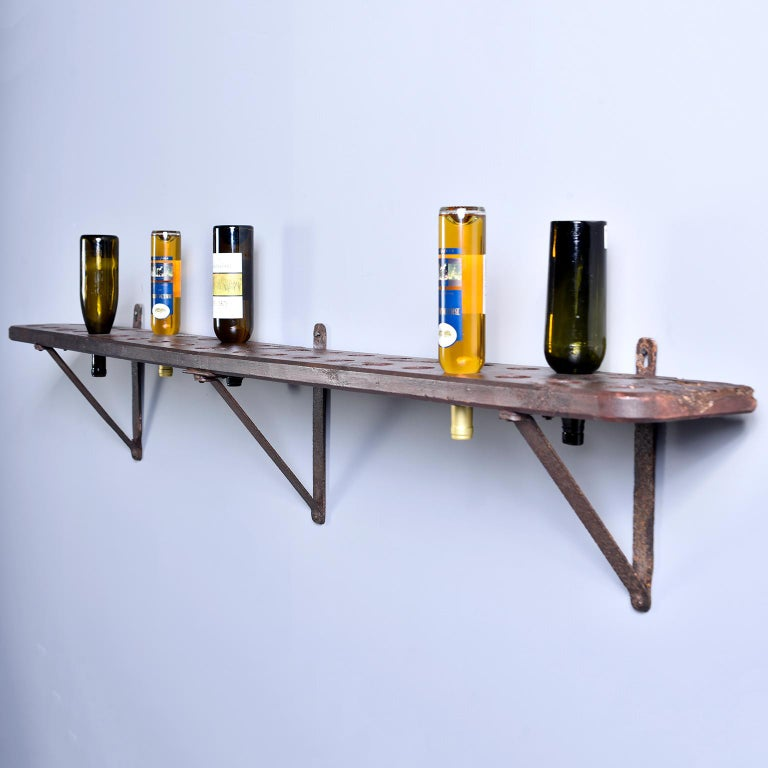 20th Century Rustic Wood and Iron French Shelf-Style Wine Rack For Sale