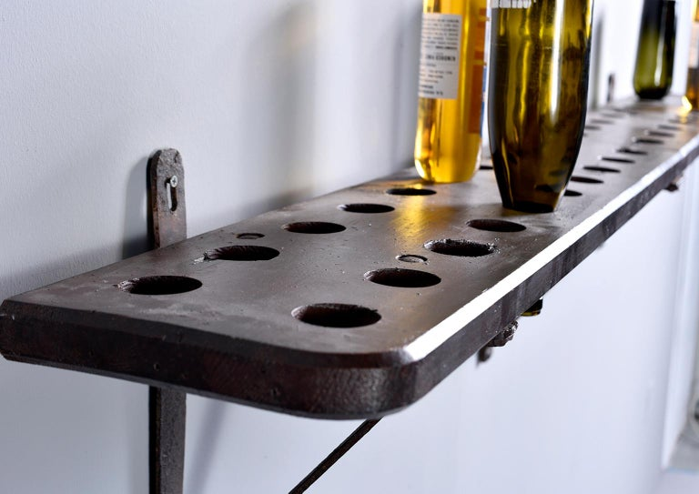 Rustic Wood and Iron French Shelf-Style Wine Rack For Sale 1