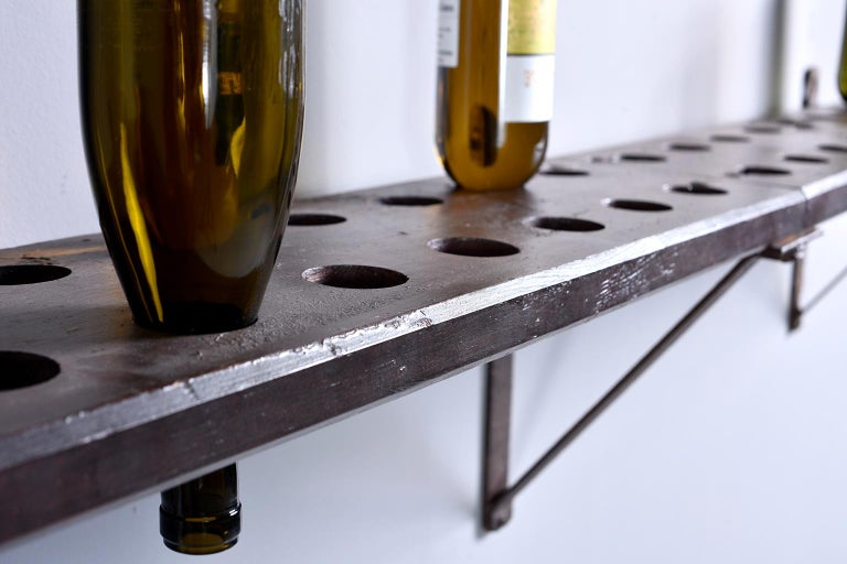 Rustic Wood and Iron French Shelf-Style Wine Rack For Sale 2