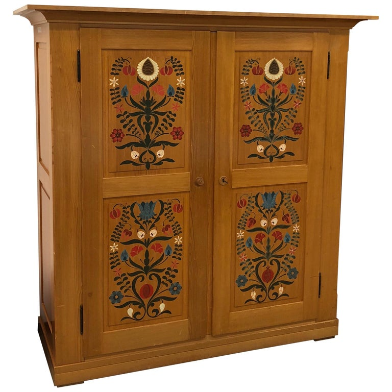 Rustic Wooden Hand Painted Wardrobe Armoire For Sale At