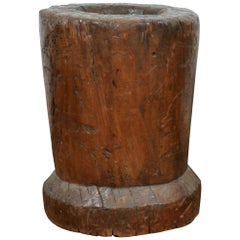 Rustic Wooden Large Mortar Bowl Urn
