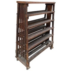 Rustic Wooden Shelving Rack-1920s France