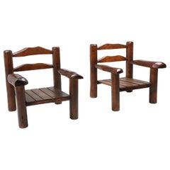 Rustic Wooden Wabi Sabi Lounge Chairs