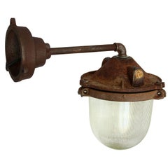 Rusty Brown Cast Iron Vintage Industrial Holophane Glass Wall Lights