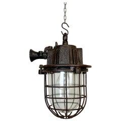 Rusty Cast Iron Industrial Cage Pendant Light, 1950s