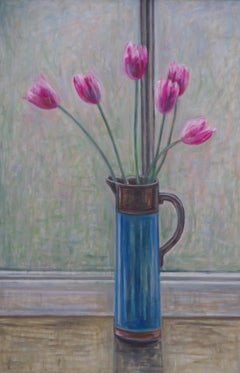 Tulips In A Blue Jug. Contemporary Still Life Floral Painting