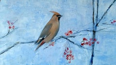 Waxwing. Contemporary Oil painting
