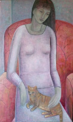 Woman and Cat. Contemporary Figurative Oil Painting on Canvas