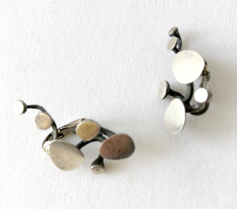Ruth Berridge Sterling Silver American Modernist Branching Vine Earrings In Good Condition For Sale In Los Angeles, CA