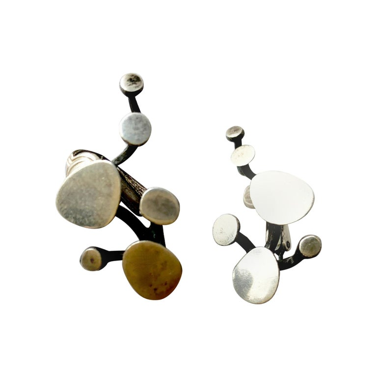 Ruth Berridge Sterling Silver American Modernist Branching Vine Earrings For Sale