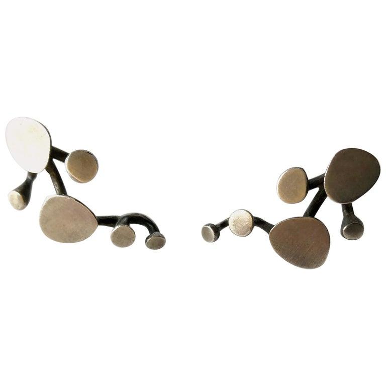 Ruth Berridge Sterling Silver Modernist Vine Earrings For Sale