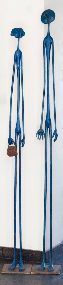 Beautiful Blue (He & She) two bronze sculptures