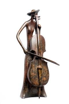 Ruth Bloch, Cellist, Musician woman, cello,  bronze sculpture