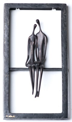 Ruth Bloch, Couple in a window, bronze wall sculpture