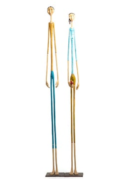 Ruth Bloch, Long Figures, couple hand-painted sculptures