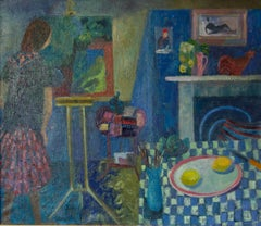 Painting in the Kitchen - Late 20th Century Oil of Artist Working by Ruth Burden